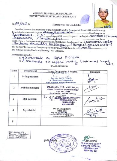 Certificate issued by Trichur District Medical Board