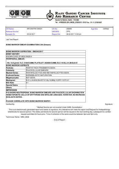 Bone Marrow Smear Report for April