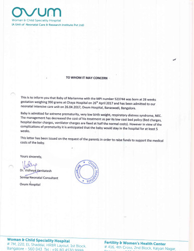 Letter from admitting consultant