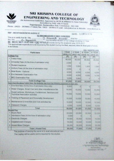 Fee structure, Mr. J Bharath Kumar
