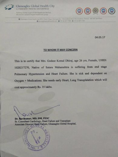 Doctor's certificate about transplantation