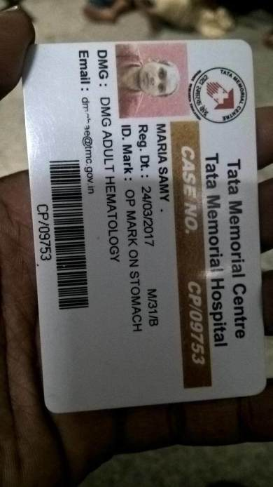 Admission Medical Card of Tata Hospital