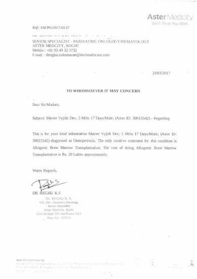 Doctor Letter: Dr Reghu Aster Medcity