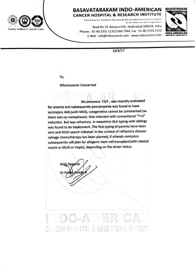 Letter head from hospital that Bone Marrow Transplantation required