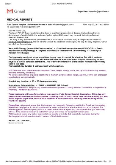 Response from FUDA Cancer Hospital
