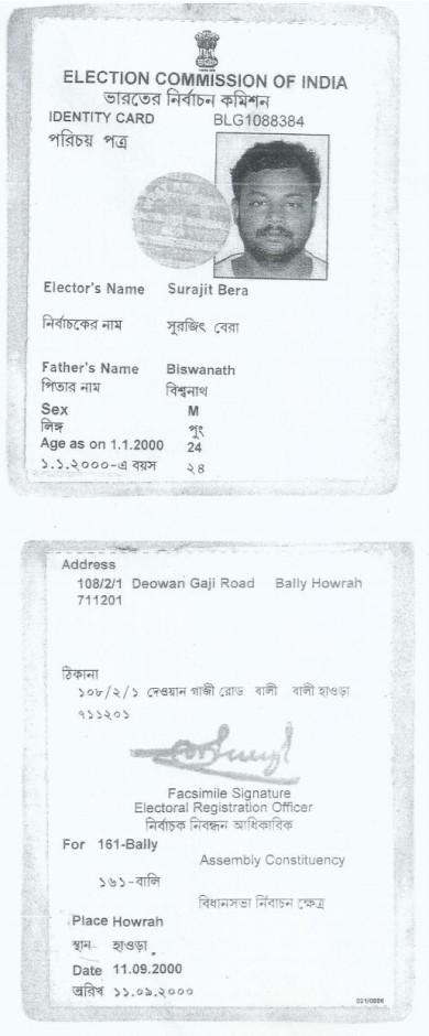 Srija Bera Father Voter information