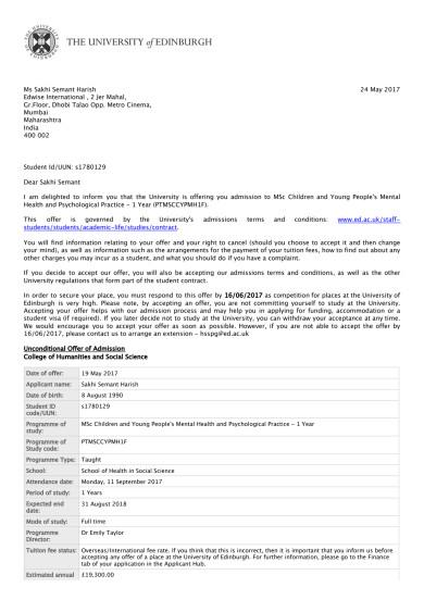 Offer Letter from The University of Edinburgh