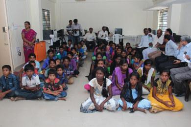 Students at Sri Sharadha school,Tippasandra Village