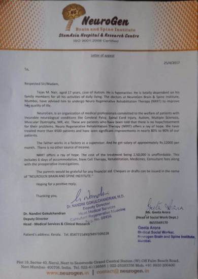 Page 1- Letter of Appeal from Neurogen , Navi Mumbai