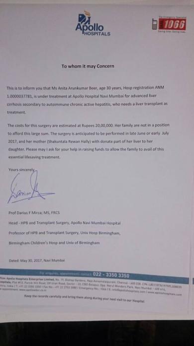 Dr Darius (Apollo Hospital) Letter for liver transplant.