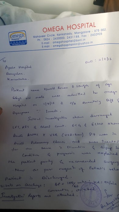 Letter of transfer to Apollo Bangalore
