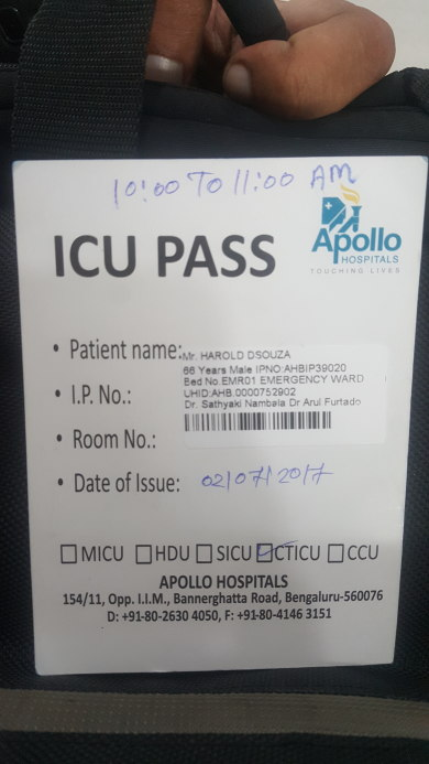 ICU Admit card
