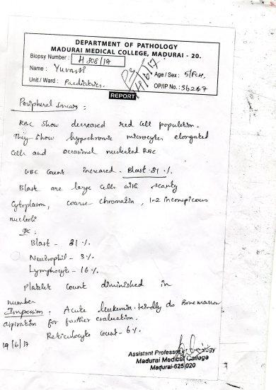 Bone Marrow Biopsy at Madurai Government Hospital