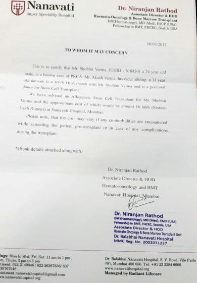 Hospital's Estimate Letter