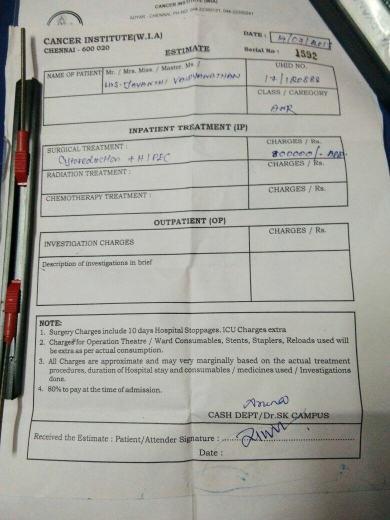 Estimated Surgery cost 8 lakh atCANCER INSTITUTE (W.I.A) Adyar,chennai