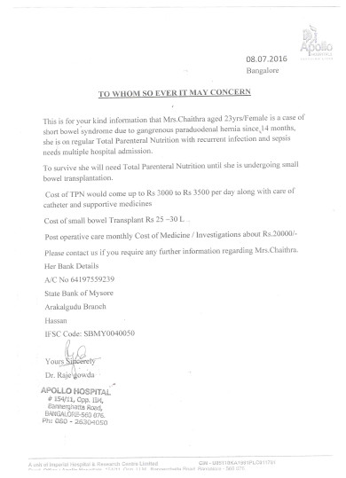 Apollo hospital doctors letter