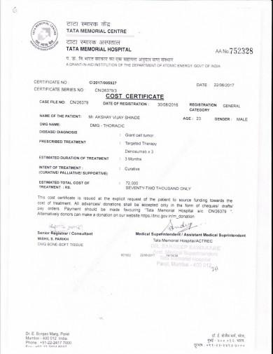 cost certificate 2