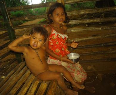 19 माह की कुपोषित बहन को हड़िया पिलाती एक छोटी बच्ची