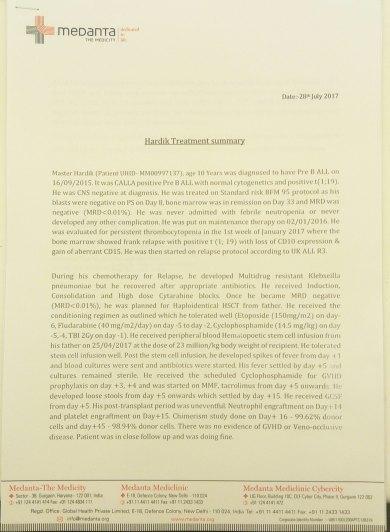 Hardik's Treatment Summary - 1