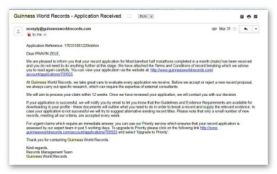 Confirmation Email from Guinness Book Of World Records