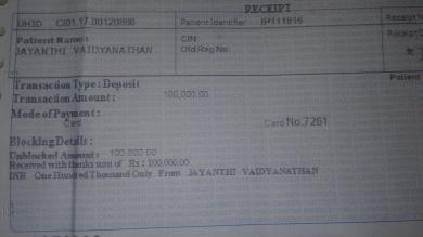 Receipt - Initial amount of 1lakh paid toward surgery