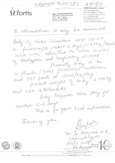 Interim bill and letter by Doctor intial days of addmission in NICU