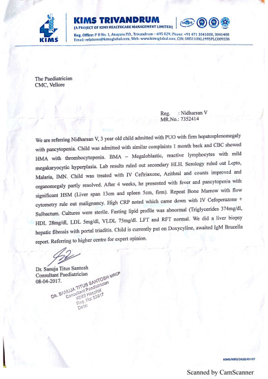 Document of KIMS Trivandrum referred to CMC