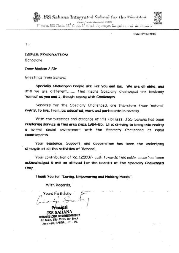 Sponsor A Child Ack. Letter 2015-16