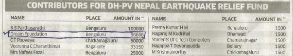 Contribution made to Nepal Earthquake Relief Fund