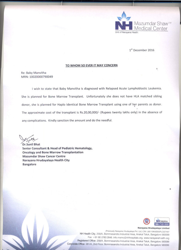 Manvitha's Estimation Letter