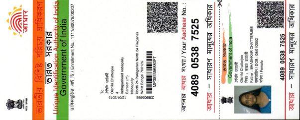 Rini's Aadhar Card