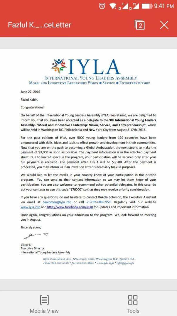 Acceptance letter of IYLA 2016