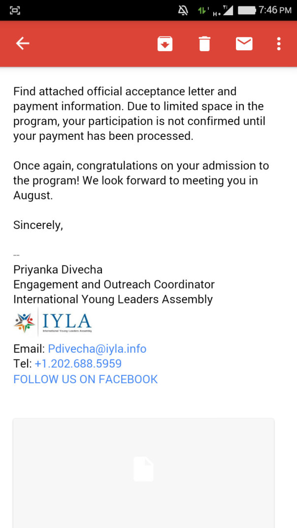 IYLA 2017 invitation as a delegate from India Email screenshot - 3