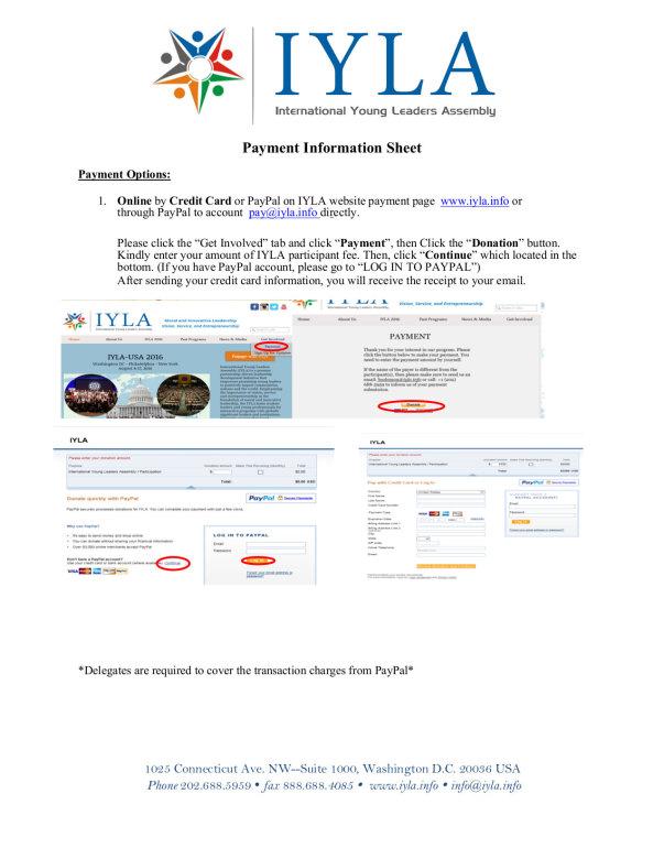 IYLA 2017 participation payment info