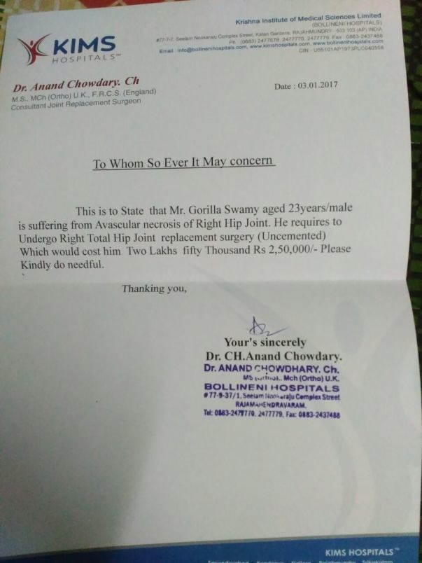 Report letter for treatment