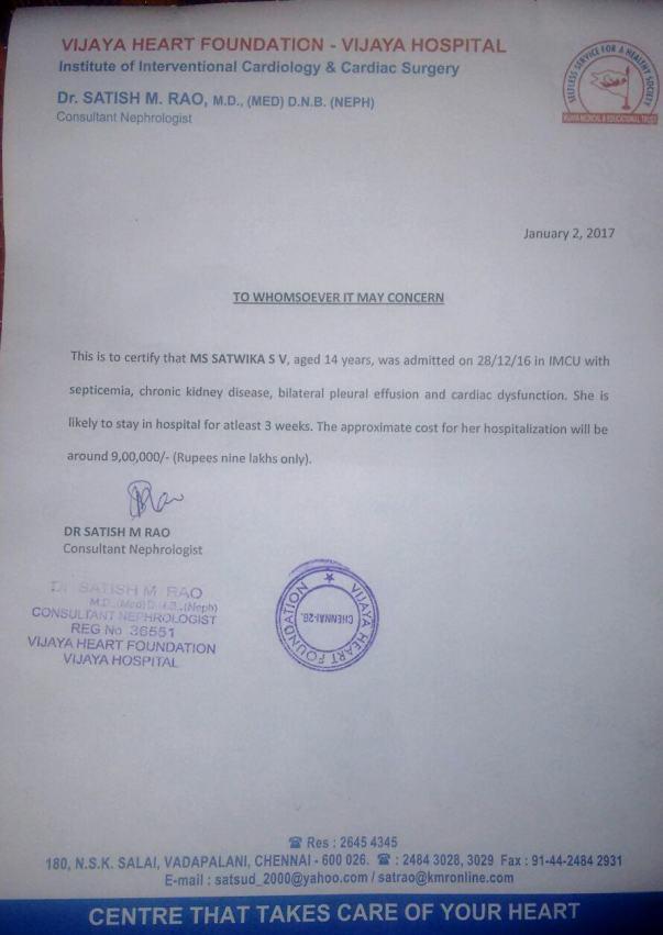Hospitalization Charges @ Vijay Hospital