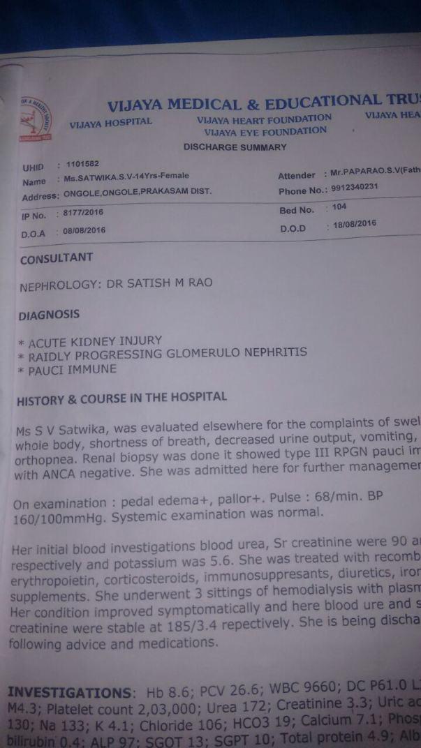 Case Report @ Vijaya Hospital