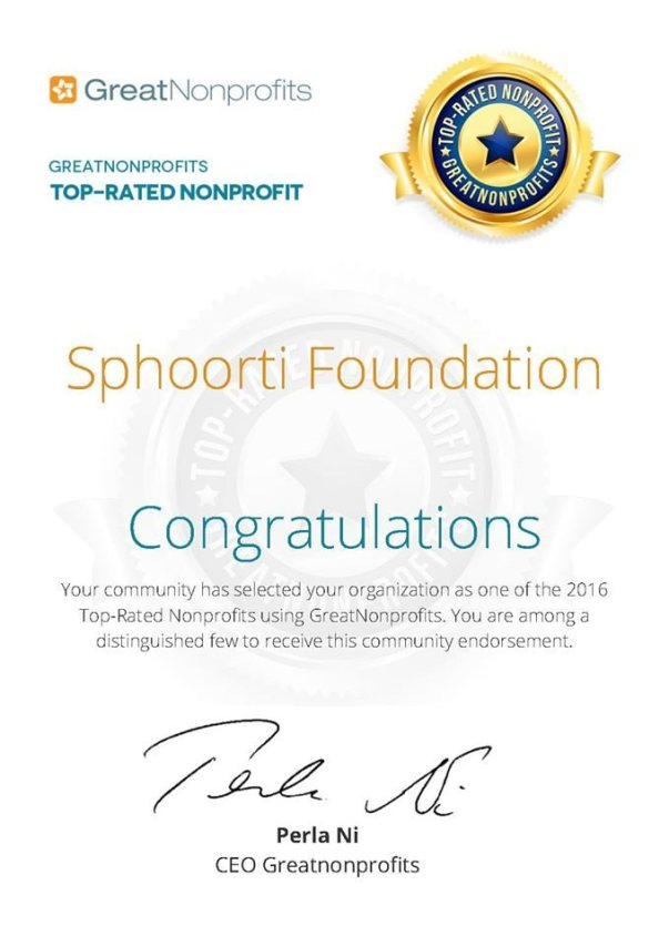 Sphoorti gets recognition from GreatNonprofits.org