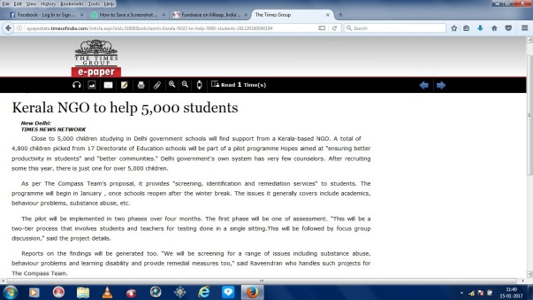 Article in ToI Delhi on Dec 24,2016