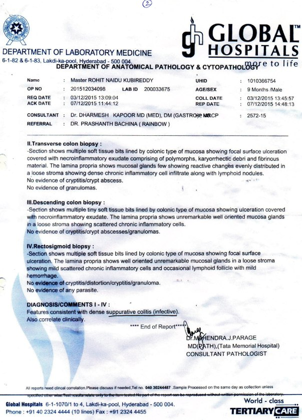 Colonoscopy Biopsy Report