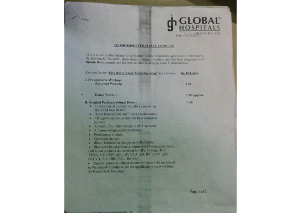 global hospital hyderabad estimation account for liver Transplantation