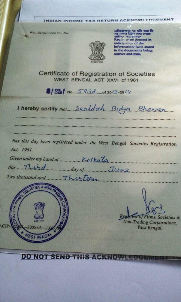 Our Organization Registration Certificate