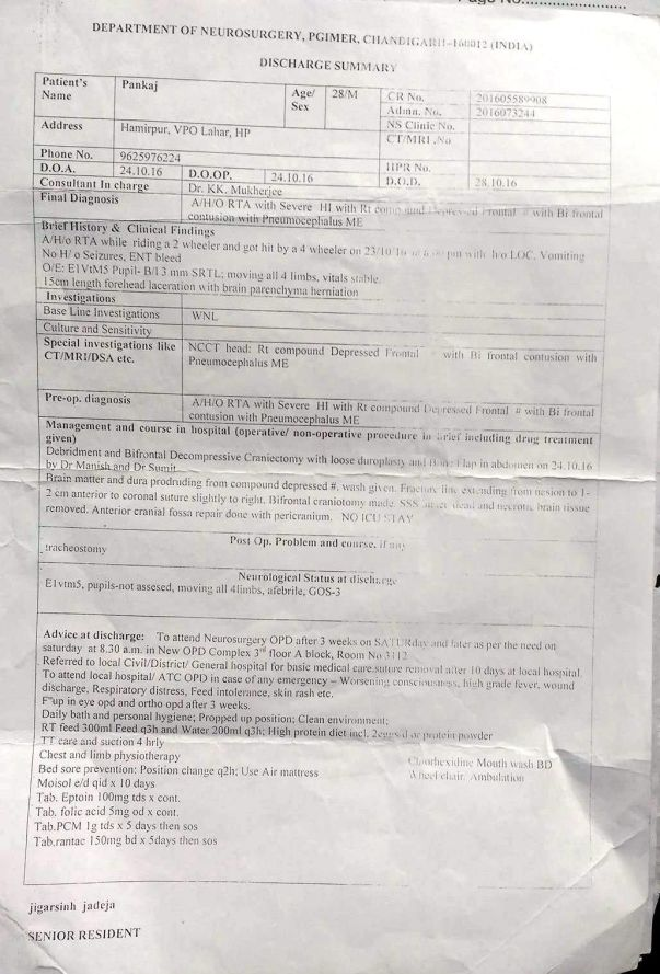 Discharge Sheet- uploaded by Himachali Blood Donors'