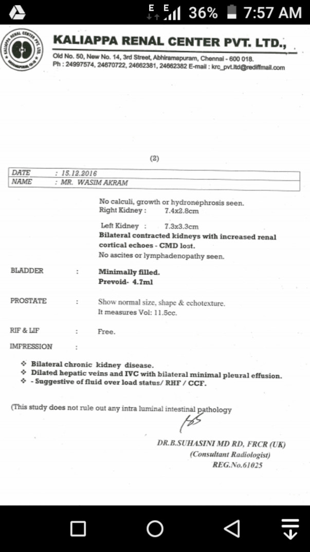Kidney failure report