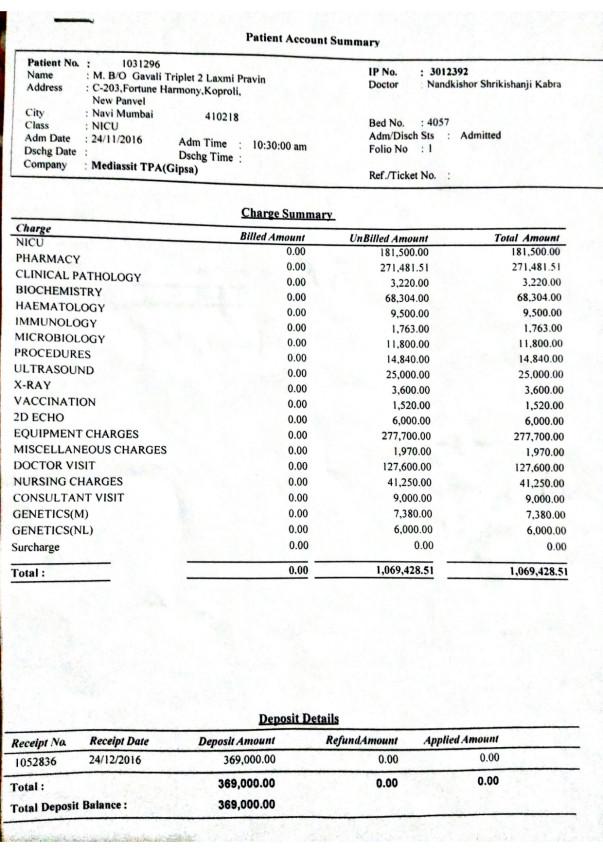 Triplet 2 bill summary
