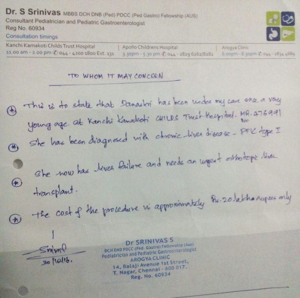 Letter from doctor
