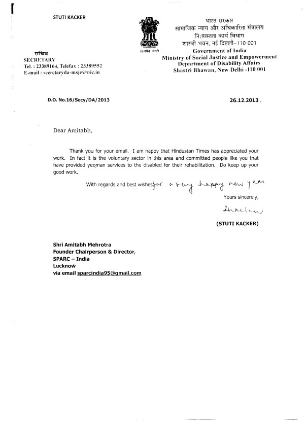 Letter from Secretary Ministry of Social Justice &Empowerment GOI