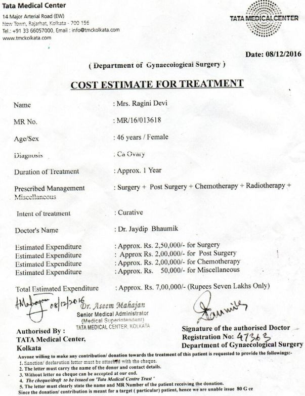 Cost Estimate for cancer treatment from Tata Medical Center- Kolkata