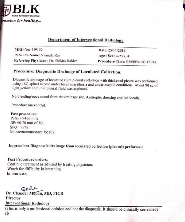 Pleural effusion drainage bill- BLK(25/11/16)