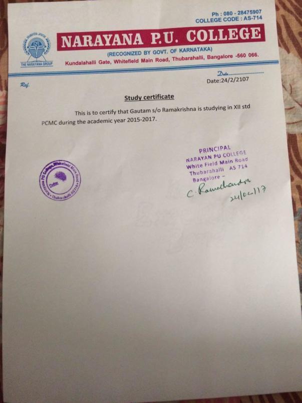 Student Bonafide Certificate